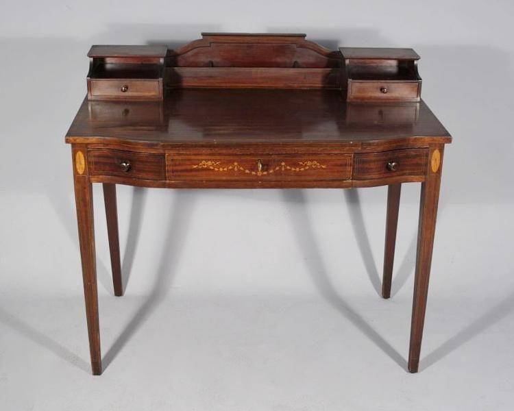 a federal style mahogany desk with inlay - Mahogany Desk