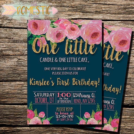 Navy Blue Blush Floral First Birthday Invitation Girls First