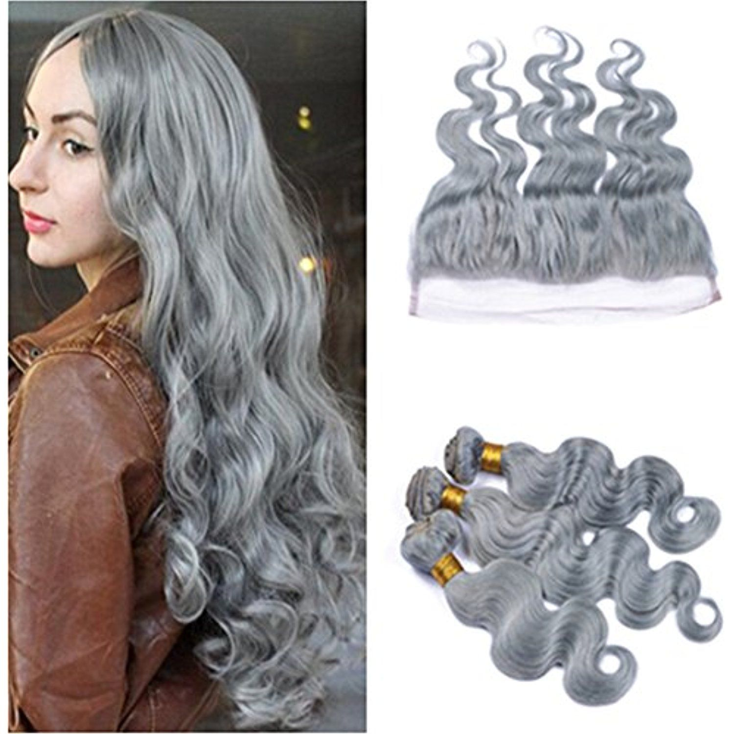 Ruma Hair 8a New Gray Hair Weave With 13x4 Ear To Ear Lace Frontal