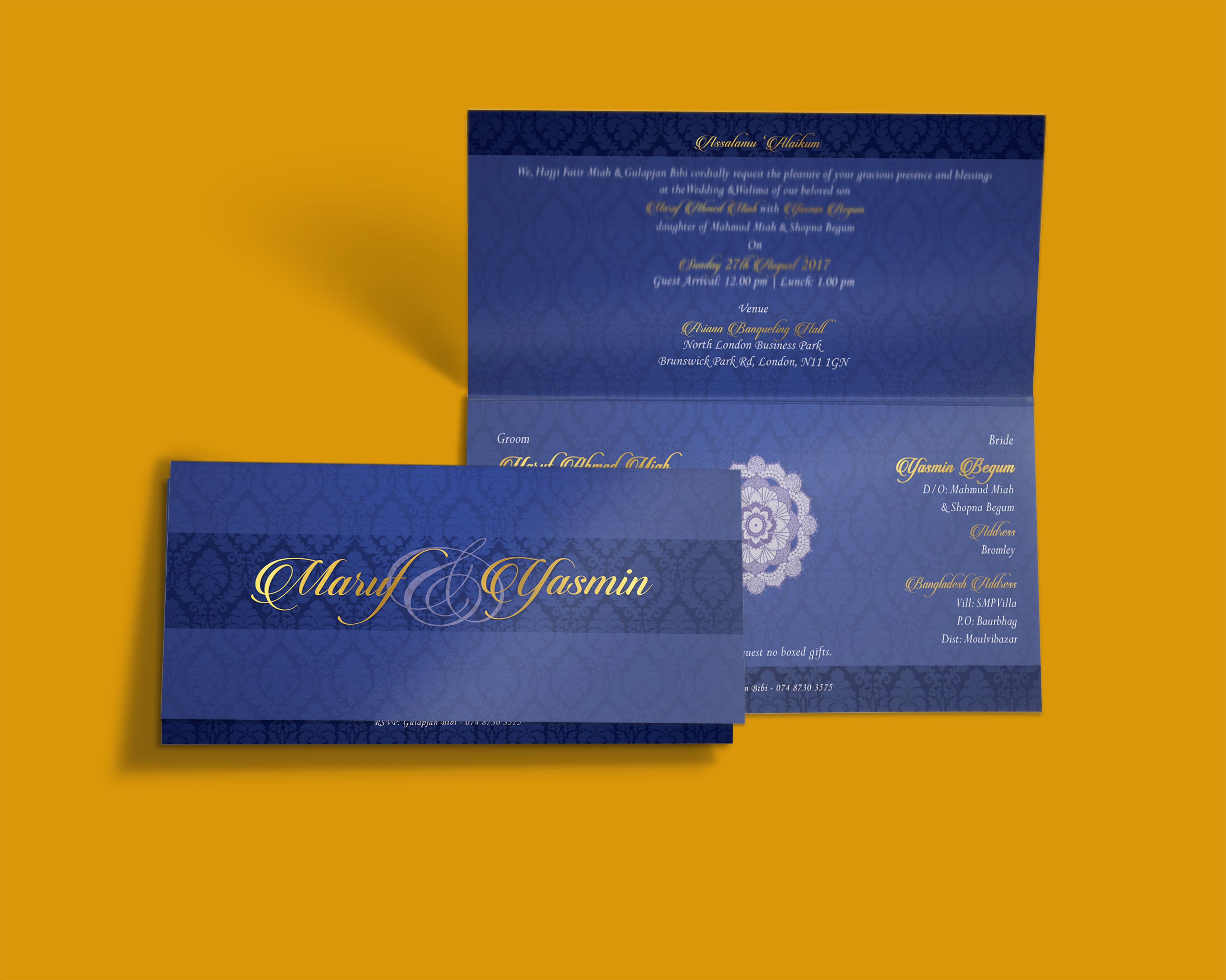 Blue Gold Tent Folded Wedding Invitation Card Bold Beautiful
