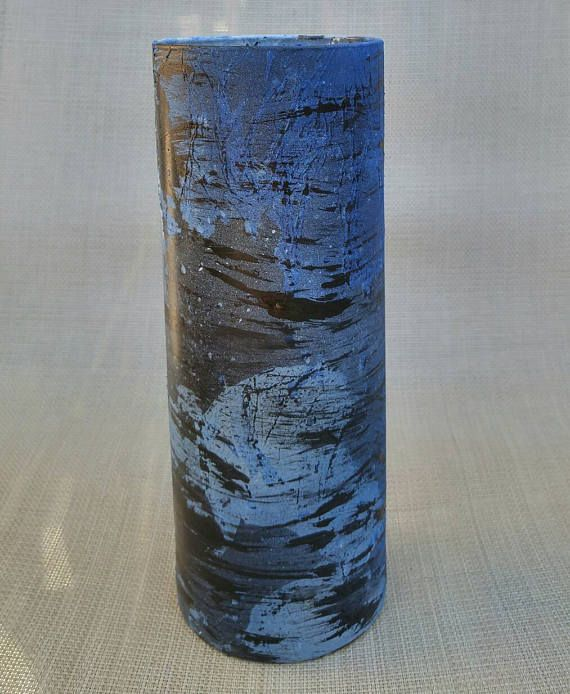 Handpainted Blue Black Vaseblue Glass Art Vasemodern Blue Vase