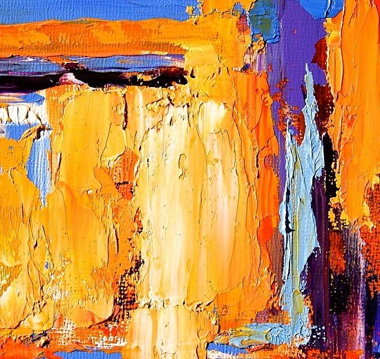 """Theresa Paden - Work detail, close-up photo of paint texture. """"Sunlight Streaming In"""""""