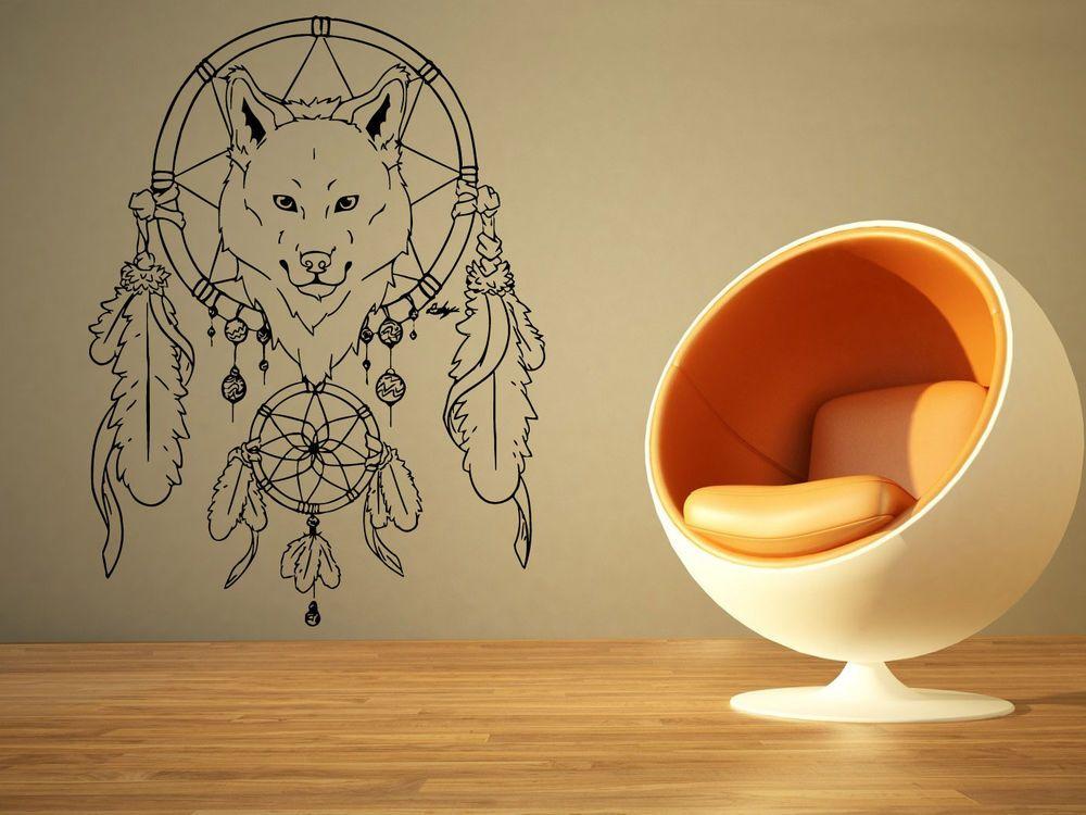 Wall Room Decor Art Vinyl Sticker Mural Decal Dreamcatcher Wolf Big ...