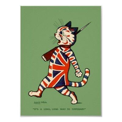 Poster Print Patriotic Cat Poster Zazzle Co Uk Cat Posters Cat Art Louis Wain Cats