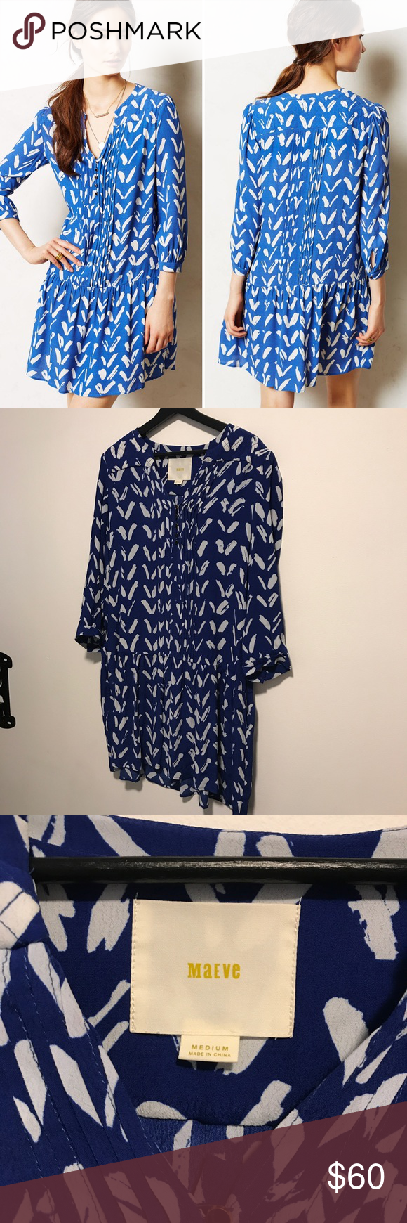 e64a82e8bd892 Anthropologie Maeve Caravane Tunic Dress Adorable blue and white printed  tunic drop waist dress from Anthropologie brand Maeve. Size medium.