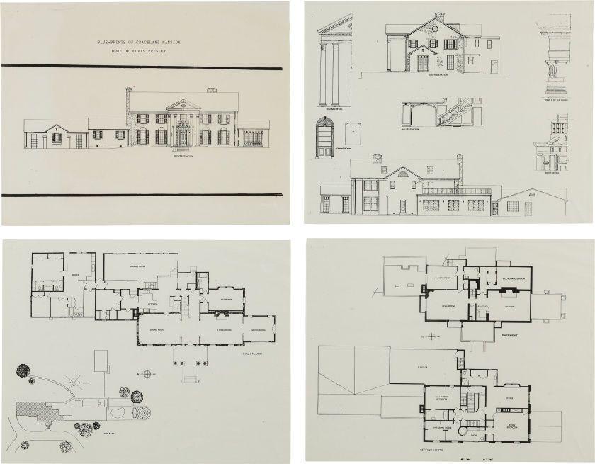 Elvis presley blueprints to graceland mansion for Memphis plan