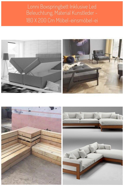 Lonni Boxspringbett Inklusive Led Beleuchtung Material Kunstleder 180 X 200 Cm Mbel Einsmbel Ei Led Beleuchtung Design Schlafsofa Furniture