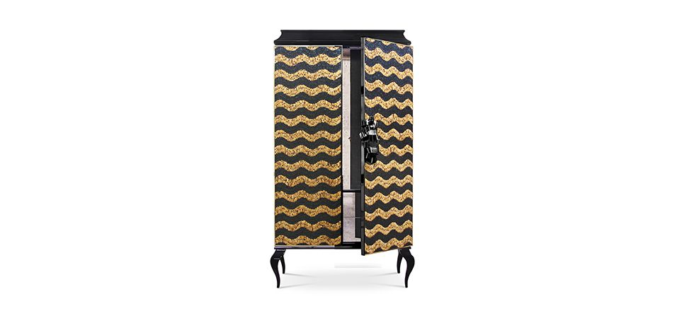 DIVINE CABINET BY KOKET | This utterly desirable double door pagoda top armoire is covered in delicate iridescent peacock feathers each individually placed | http://buffetsandcabinets.com