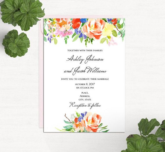 Boho floral wedding invitation Template word Summer invites ...