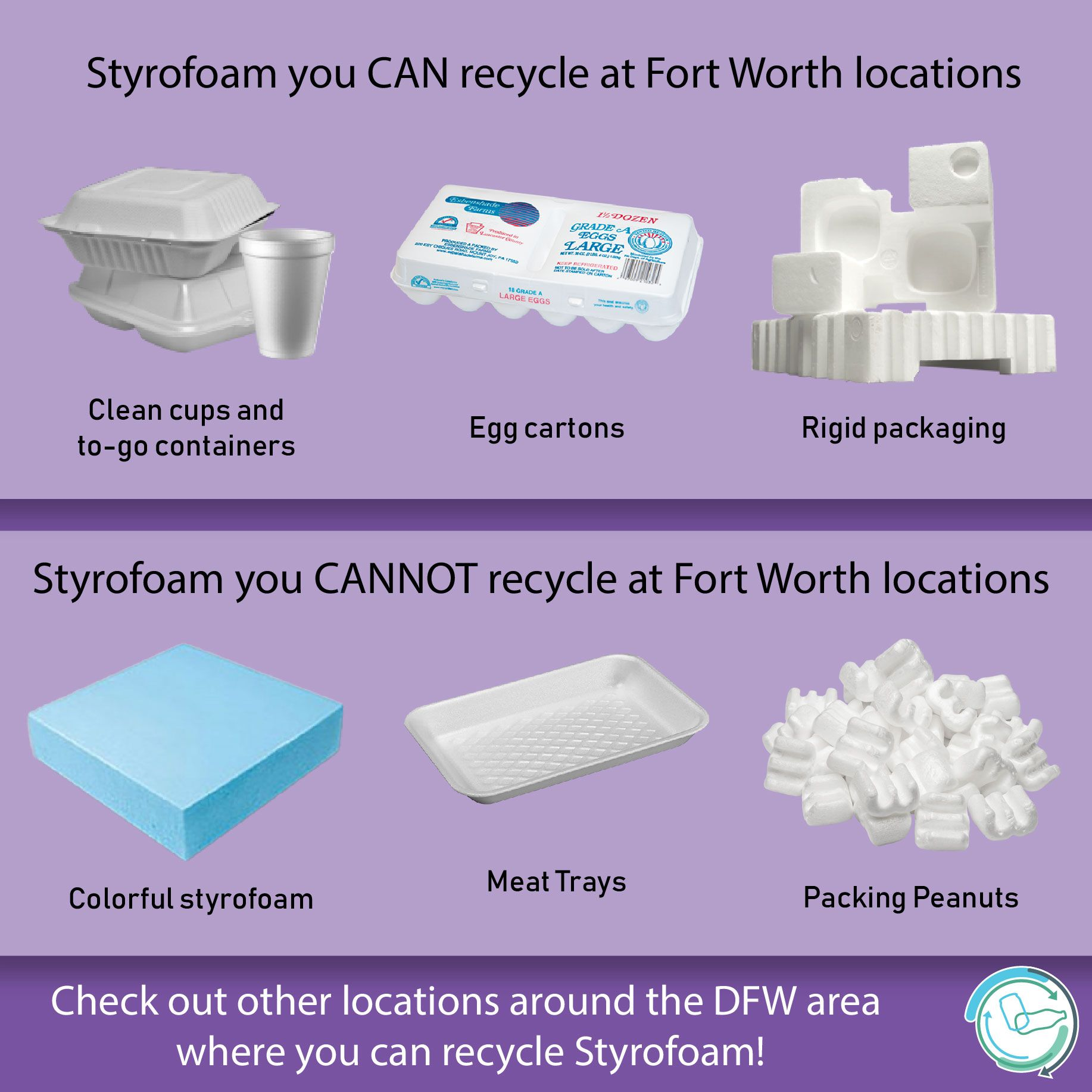 Did You Know Fort Worth Has 4 Drop Off Locations To Recycle Styrofoam You Can Now Recycle Styrofoam Cups Coolers In 2020 Styrofoam Recycling Recycling Styrofoam