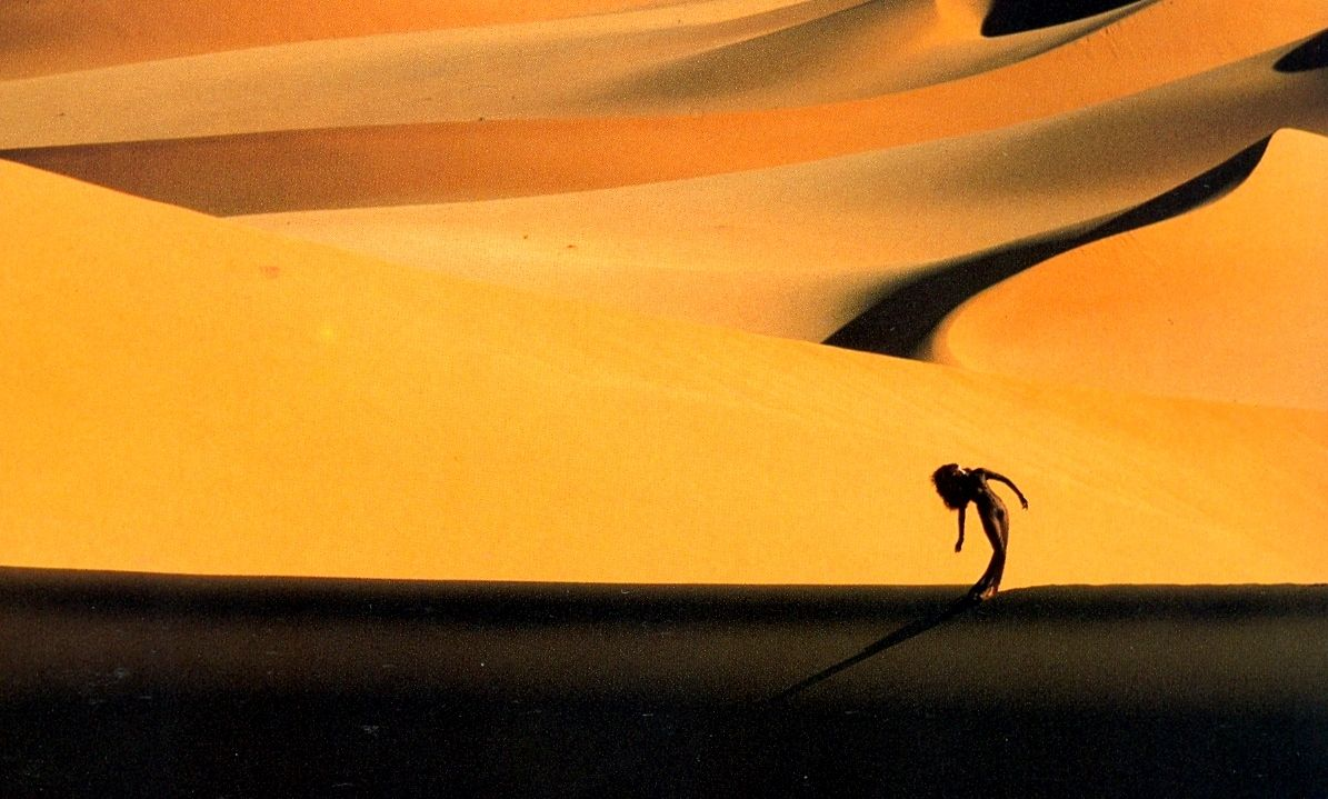 Erg Medjebat - Algerian Sahara, November 1987 LWren in Mousseline Sacree by Mugler Thierry Mugler: Photographer