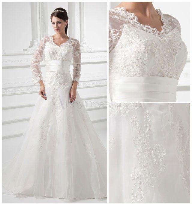 Tulle, Satin, V-neck, 3/4-length Sleeves, Beaded Lace A-line Chapel Train Wedding Dress