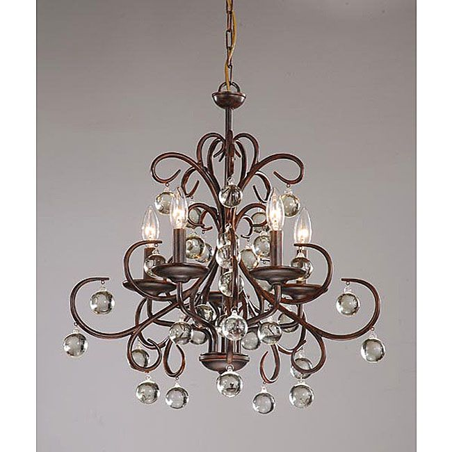 Wrought Iron Foyer Chandelier : Wrought iron and crystal light chandelier brown