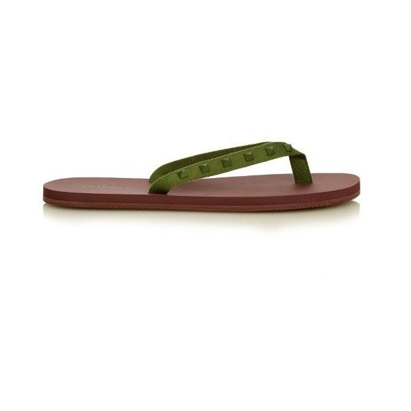 Valentino Rockstud-embellished flip-flops ($275) ❤ liked on Polyvore featuring men's fashion, men's shoes, men's sandals, men's flip flops, shoes, red multi, valentino mens shoes, mens summer sandals, mens red shoes and mens summer shoes