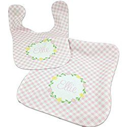 Custom baby bib and burp cloth set baby gift for baby girl custom baby bib and burp cloth set baby gift for baby girl personalized with name negle Image collections