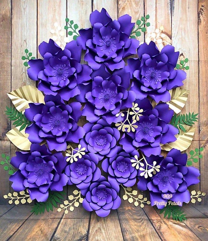 Items op Etsy die op Paper Flowers Set of 12 Paper Flower Backdrop lijken #largepaperflowers