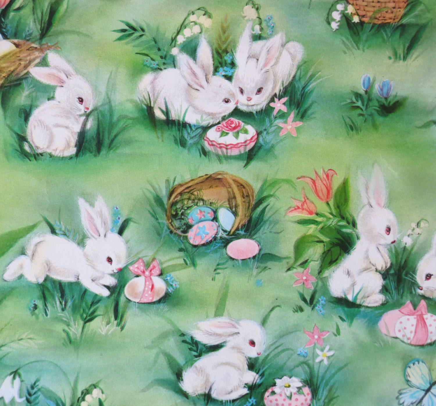 Vintage hallmark easter gift wrap wrapping paper bunny time vintage hallmark easter gift wrap wrapping paper bunny time adorable white bunny rabbits and eggs 1960s wrapping papers easter and wraps negle Image collections