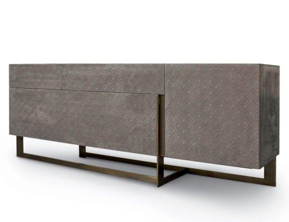 Nella Vetrina Rugiano Blade 6020 210e Upholstered Leather Credenza
