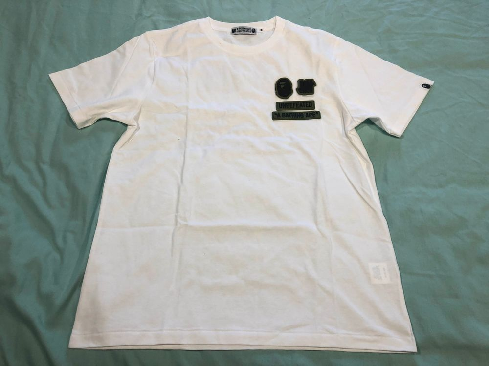 9125018b A Bathing Ape Bape x Undefeated Rubber Patches 93-02 White T Shirt M  #fashion #clothing #shoes #accessories #mensclothing #shirts (ebay link)