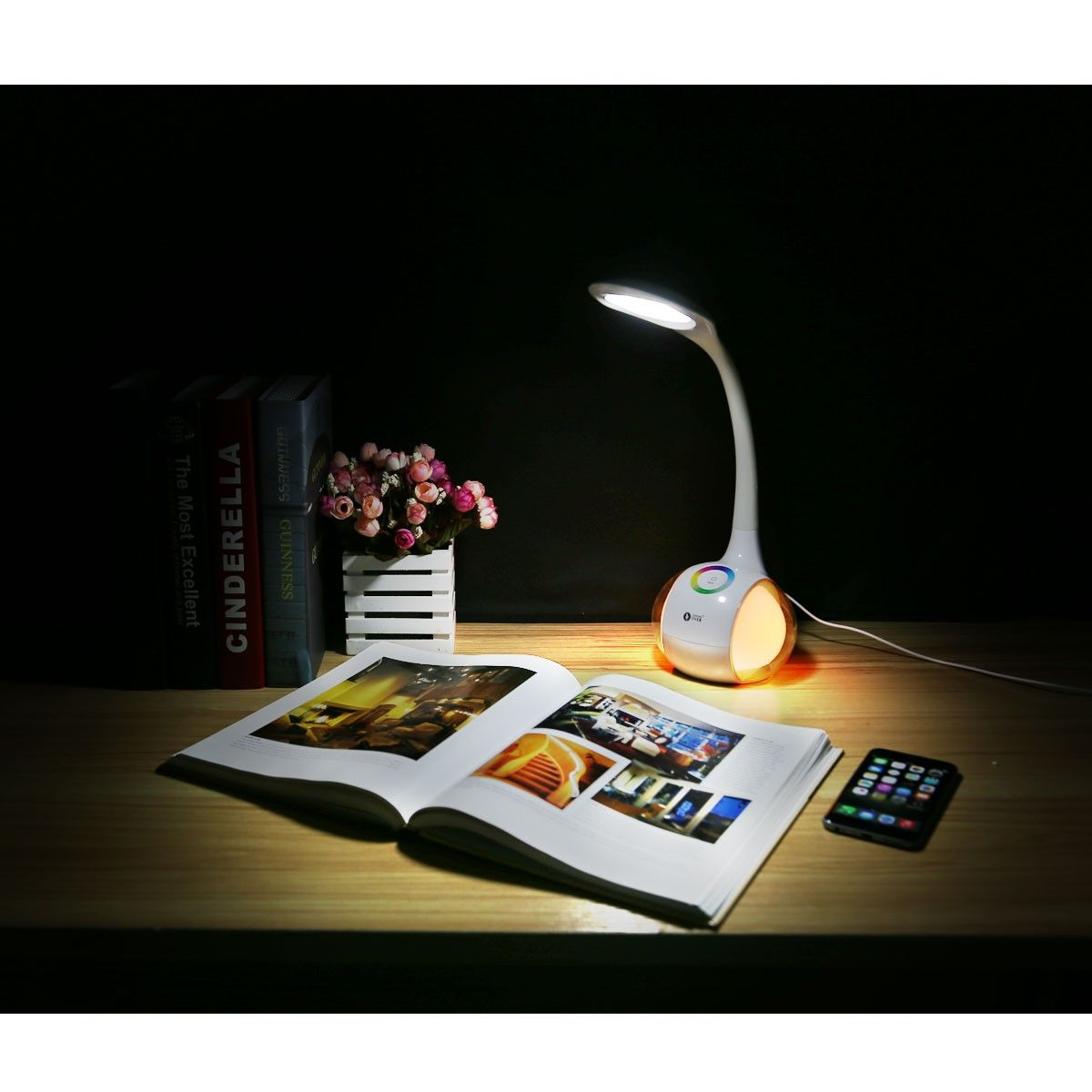 7w Dimmable Led Desk Lamp With Lamp Of Mood Lighting 3 Brightness Levels Full Colors Choice