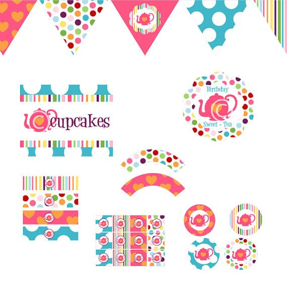 Tea Party COMPLETE Printable Party Decor Birthday by BeeAndDaisy, $12.00