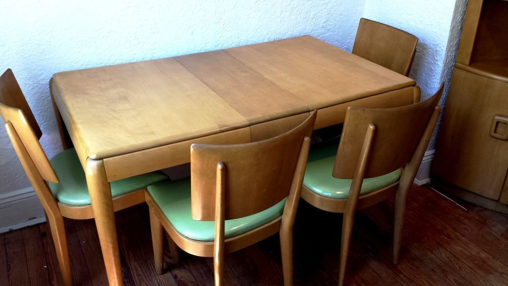 4 Vintage Heywood Wakefield Green Dining Chairs M155 And Table With Leaf Pads Heywoodwakefield
