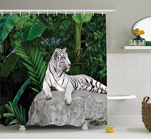 Cat Bath Picture Safari Decor Shower Curtain Set By Ambesonne