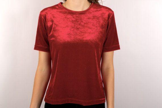 Red Velvet Shirt Blouse Summer Short Sleeves Top por KukkaRamba