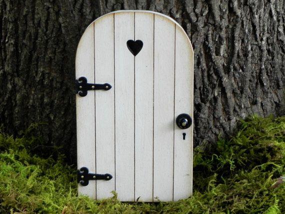Fairy Door Handcrafted, garden miniature, wood white with