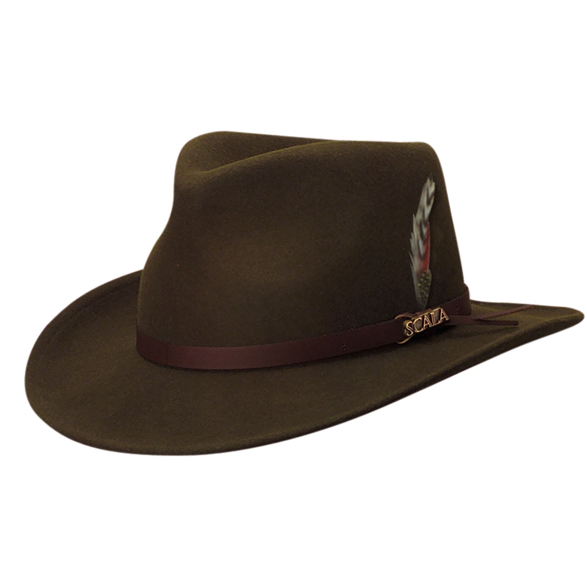 a733b869ba3aa Scala Men s Wool Felt Water Repellent Crushable Fedora Hat