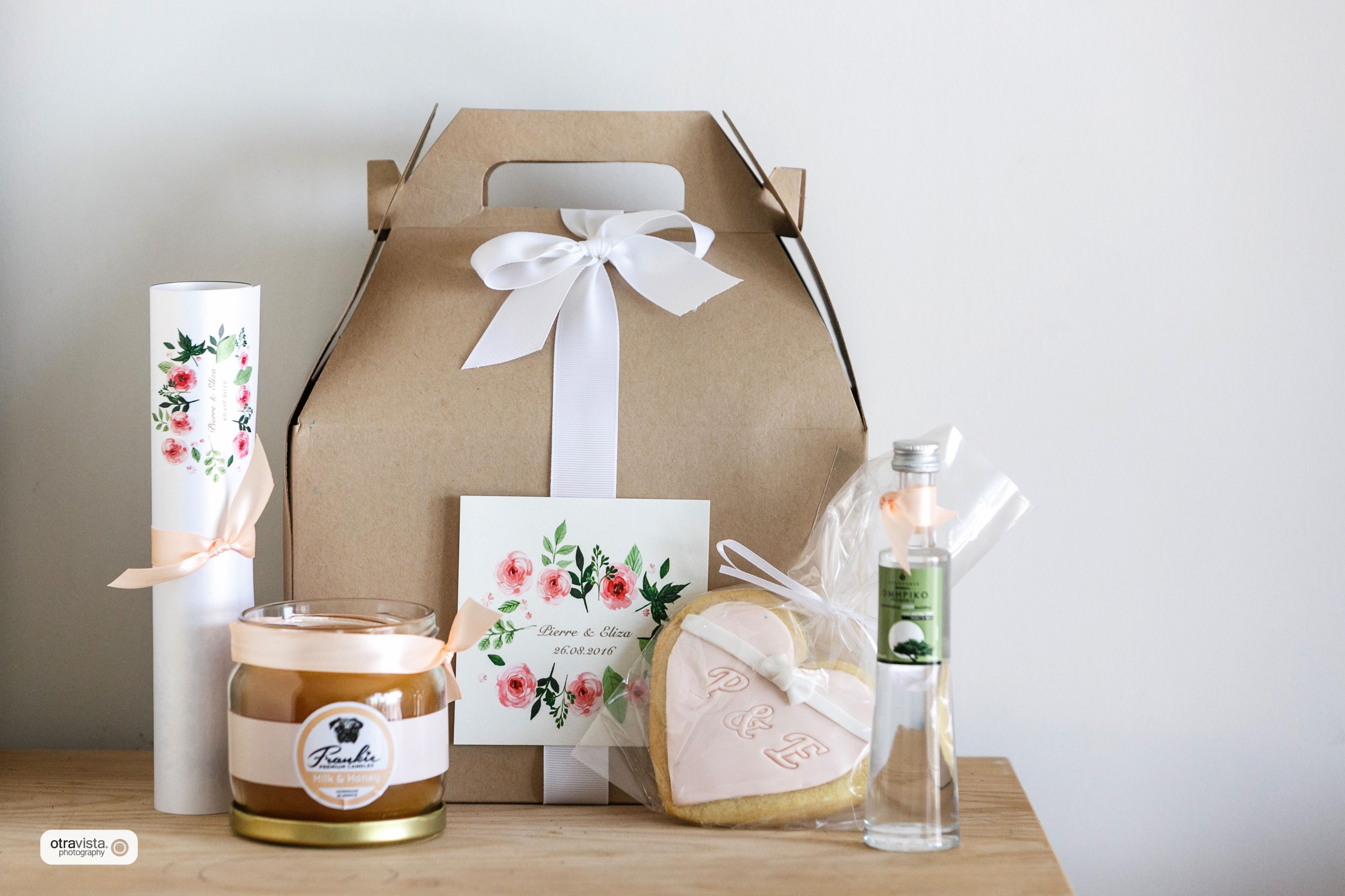 Wedding welcome gift box for the out-of-town guests. Scented candle ...