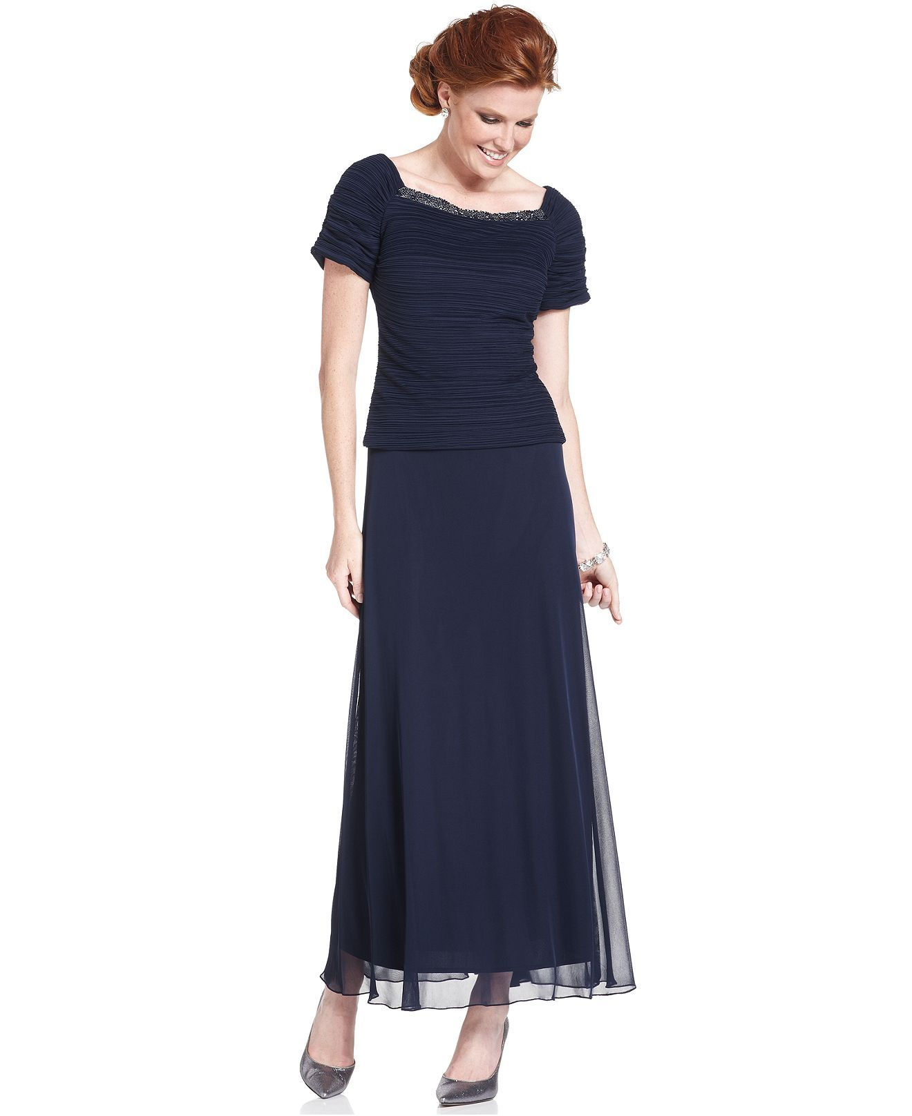 Patra Dress Short Sleeve Beaded Gown Womens Dresses