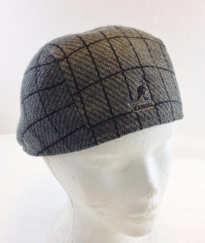 Kangol Gray   Blue Plaid Jacquard 507 Newsboy Cap Hat Mens M  Kangol  Cap 5c442ee0460e