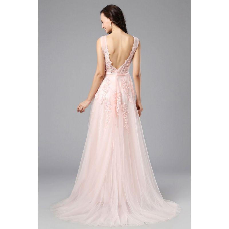 55f9412974dc Ružové večerné šaty na ramienka z tylu