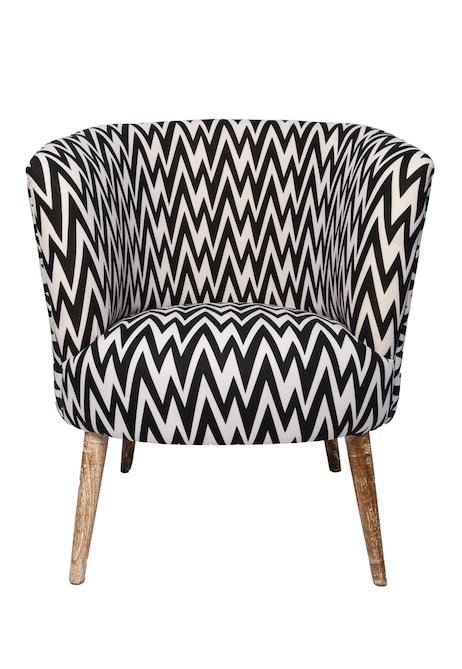 Brilliant Retro Black White Chevron Tub Arm Chairthe Block Shop Theyellowbook Wood Chair Design Ideas Theyellowbookinfo