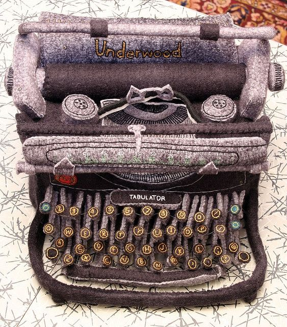 Hand dyed, hand embroidered felt typewriter by blueblythemonster