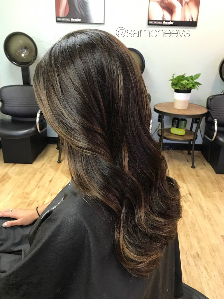 Subtle Chocolate Caramel Mocha Honey Ombre Balayage Highlights For Rich Natural Brown A Black Hair With Highlights Brunette Hair Color Balayage Hair Dark Black