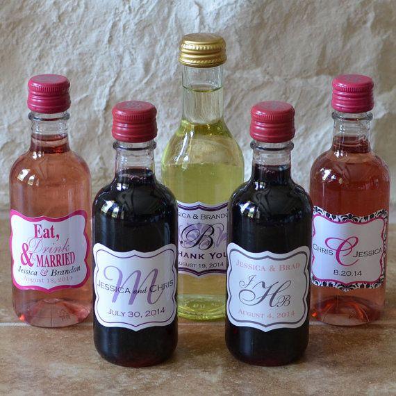 56 - 2.5 x 2 inch Die Cut Mini Wine Bottle Wedding Labels - hundreds ...