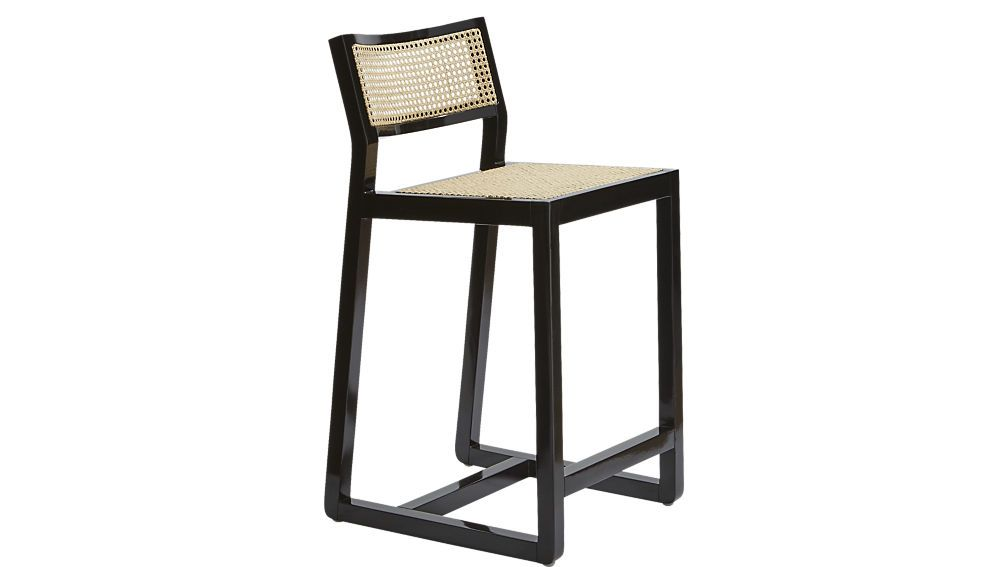 Superb Makan 24 Black Wood And Cane Counter Stool Wicker Bar Cjindustries Chair Design For Home Cjindustriesco