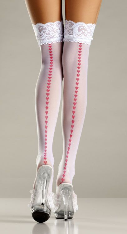 9efe18b4fb9 White thigh high stockings with lace top and a row of red hearts ...