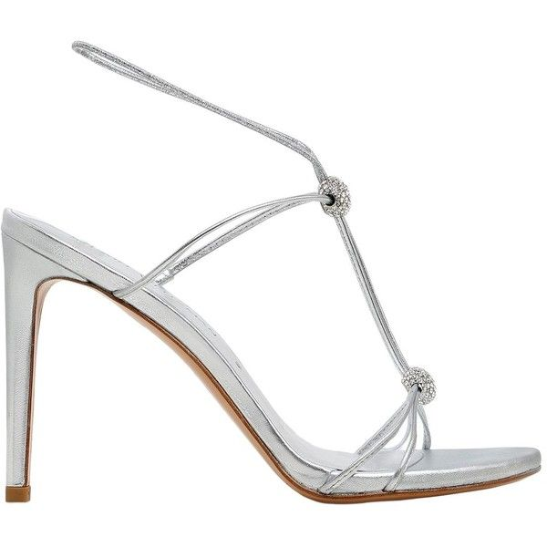 Stuart Weitzman Women 90mm Trixie Swarovski & Leather Sandals ($370) ❤ liked on Polyvore featuring shoes, sandals, silver, strap sandals, leather high heel sandals, strappy high heel sandals, metallic sandals and leather sole sandals