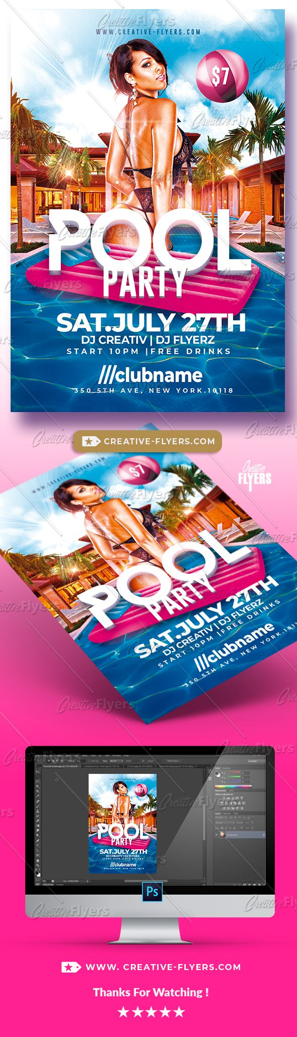 summer pool party flyer psd template creativeflyers flyer
