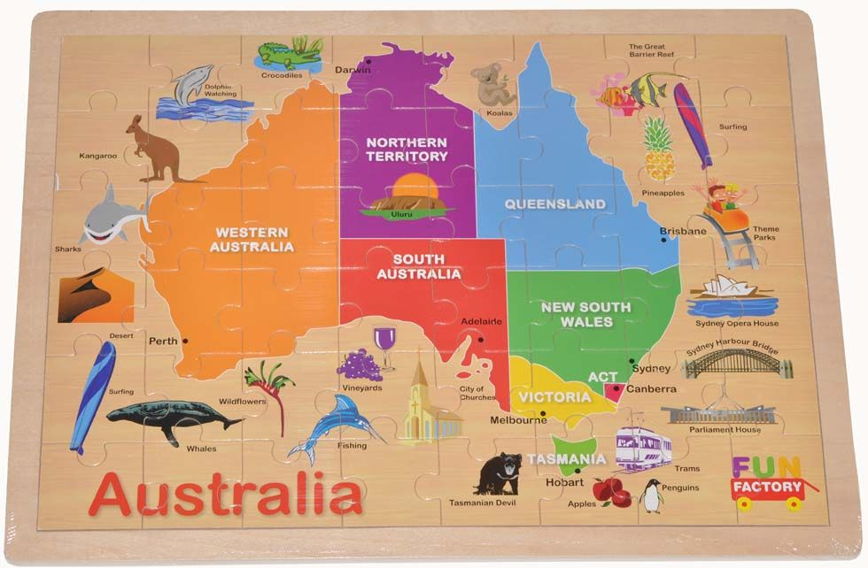 Finlee and me puzzles for kids australia map wooden jigsaw finlee and me puzzles for kids australia map wooden jigsaw puzzle gumiabroncs Gallery
