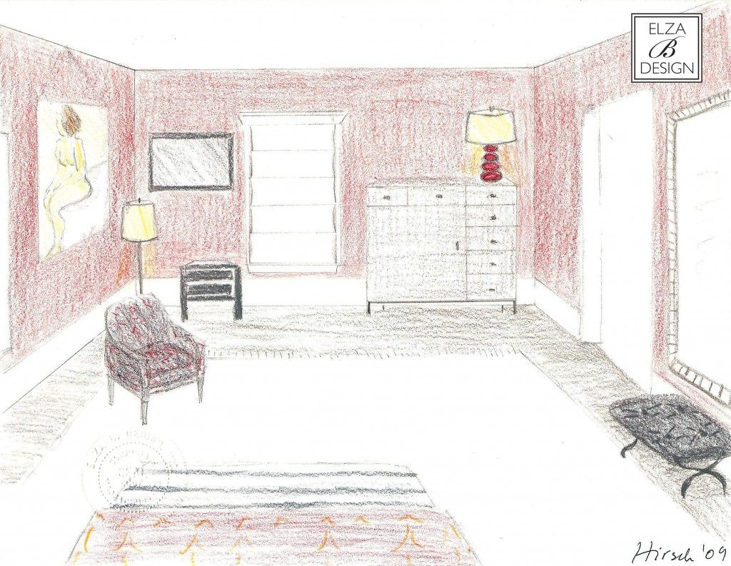 Master bedroom drawing - Interior Sketches Prepared For A Master Bedroom Possible Layout By Elza B Design In