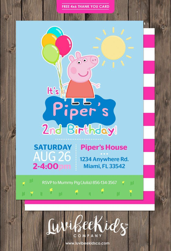 Peppa Pig Birthday Invitation Free Backside Thank You Card Peppa Pig Birthday Invitations Pig Birthday Invitations Peppa Pig Birthday Party