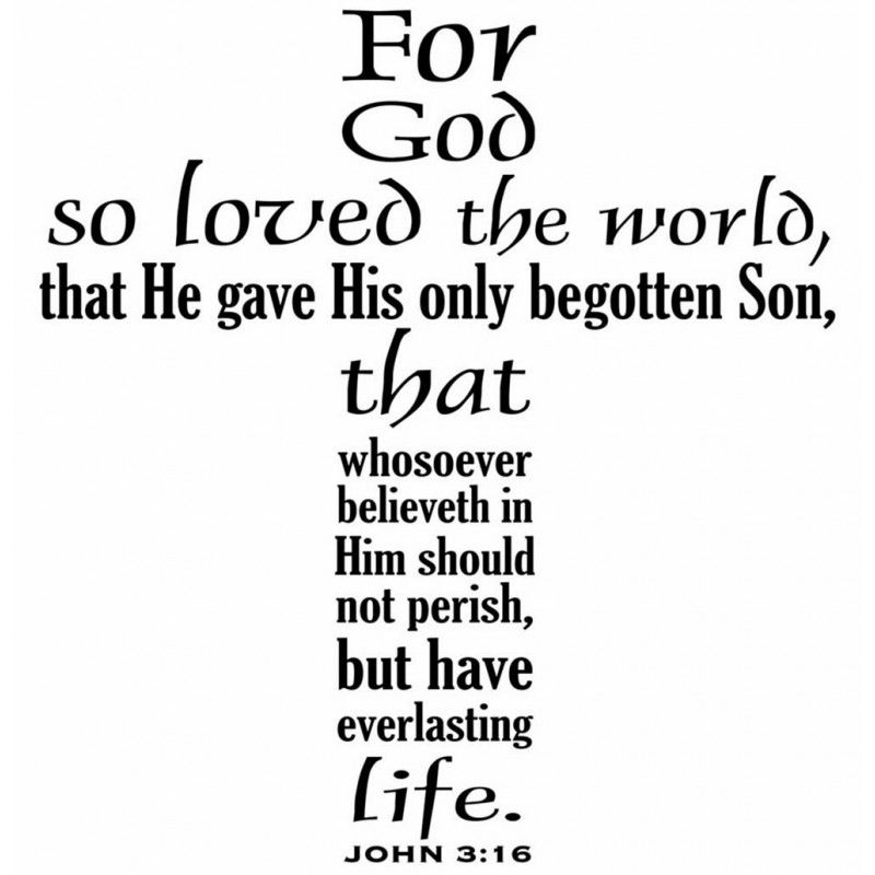 For God so Loved the World. John 3:16 Scripture decal