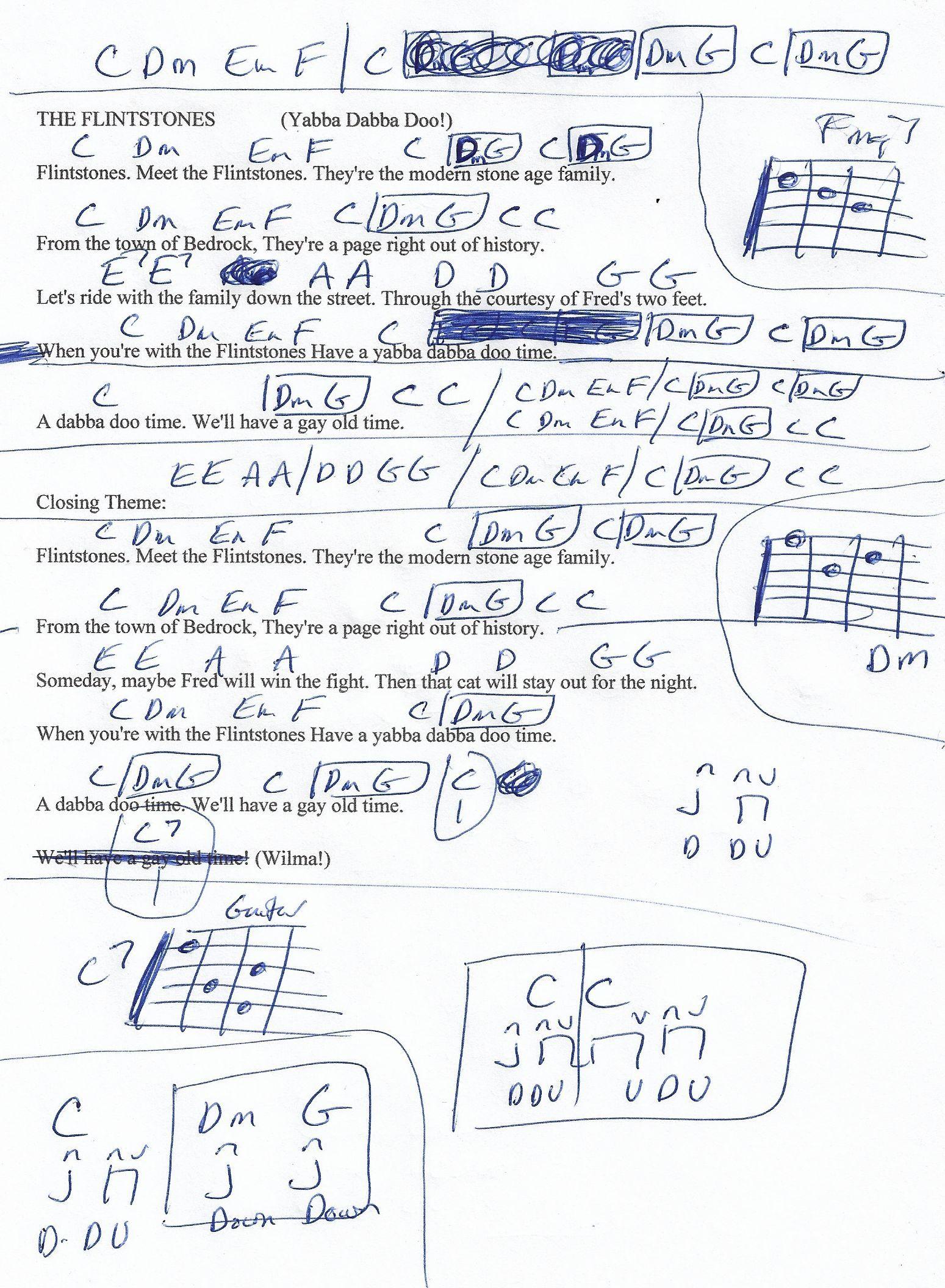The Flintstones Tv Theme Guitar Chord Chart Munson Arrangement