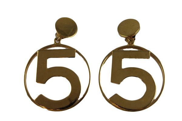 Chanel No 5 Earrings Gold Hoop Iconic Vintage Featuring Number Rare Collectable