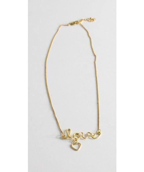 Collana a catena con scritta Love in ottone nickel tested - Vestopazzo
