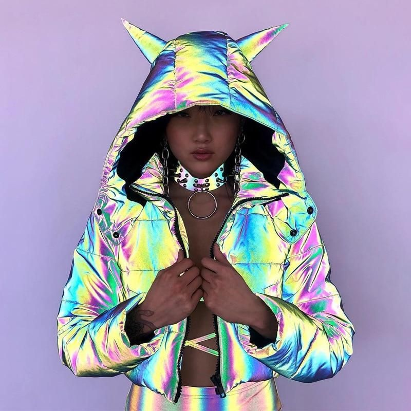 colorful reflective puffer jacket